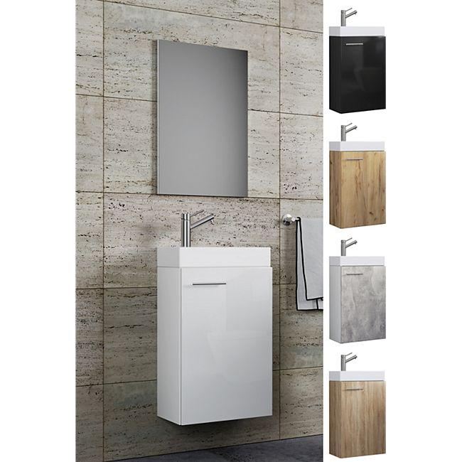 Vcm Waschplatz Waschbecken Schrank Spiegel Wc Gaste Toilette Badmobel Klein Schmal Slito Spiegel Online Kaufen Bei Netto