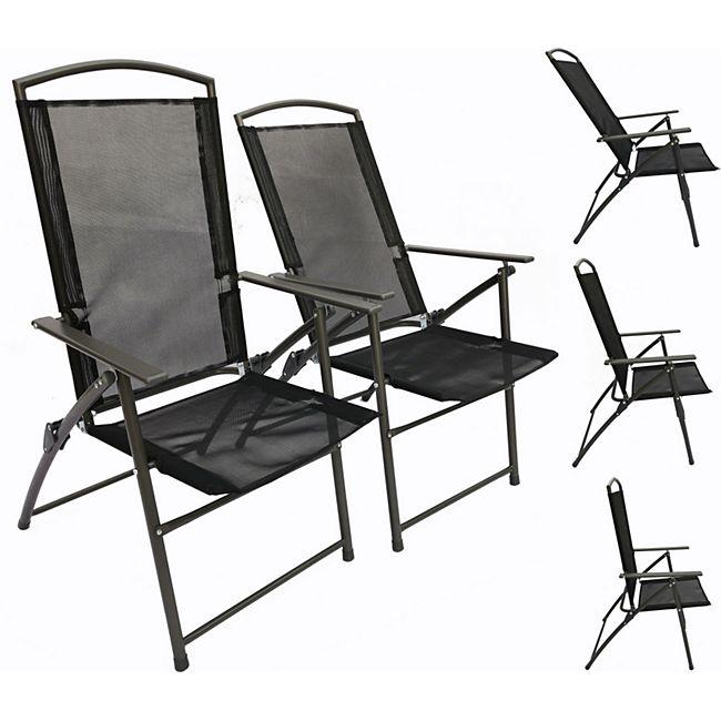 VCM Set Gartenstuhl Stühle Stuhl Metall Textilene klappbar verstellbar - Bild 1
