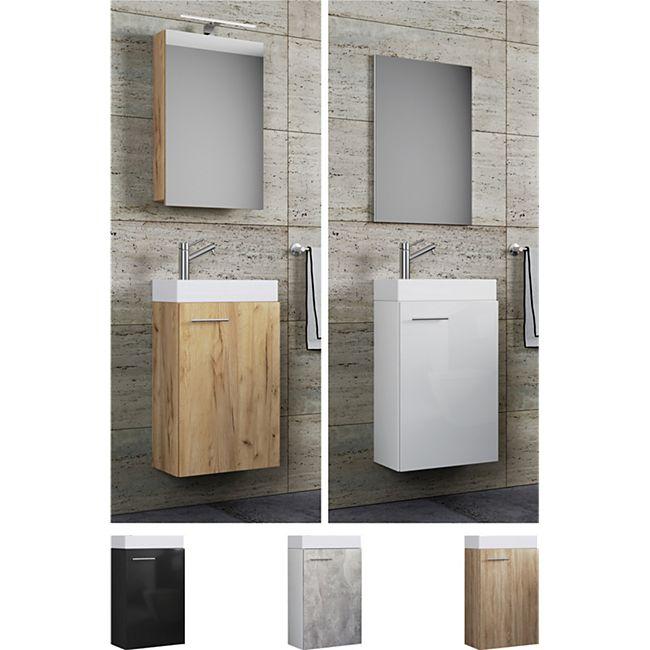 """VCM Waschplatz Waschbecken + Schrank + Spiegel oder Spiegelschrank WC Gäste Toilette Badmöbel klein schmal """"Garla"""" - Bild 1"""