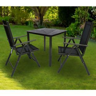 VCM Alu Sitzgruppe 80x80 Schwarzglas Gartenmöbel Gartengarnitur Tisch Stuhl Essgruppe Gartenset - Bild 1