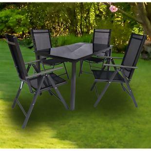VCM Alu Sitzgruppe 140x80 Schwarzglas Gartenmöbel Gartengarnitur Tisch Stuhl Essgruppe Gartenset - Bild 1