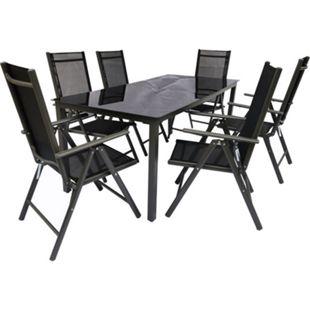 VCM Alu Sitzgruppe 190x80 Schwarzglas Gartenmöbel Gartengarnitur Tisch Stuhl Essgruppe Gartenset - Bild 1