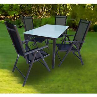 VCM Alu Sitzgruppe 140x80 Mattglas Gartenmöbel Gartengarnitur Tisch Stuhl Essgruppe Gartenset - Bild 1