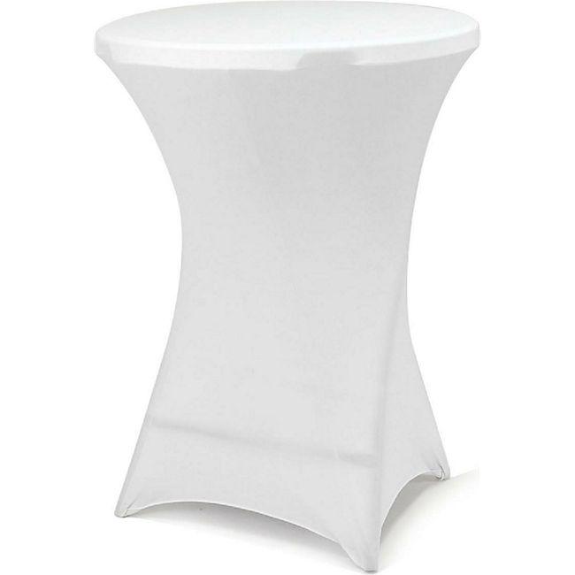 VCM Husse für Stehtisch Stretch 80 x 80 x 110 cm weiß Tischschutz Stoffbezug - Bild 1