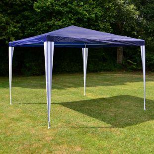 VCM Pavillon 3x3 m in blau PE Plane Partyzelt Gartenzelt Sonnenschutz Stahlgestell - Bild 1