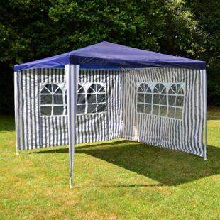 VCM Pavillon 3x3 m in blau weiß PE Plane 2 Seitenteile Partyzelt Gartenzelt Zelt - Bild 1