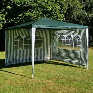 VCM Pavillon 3x3 m in grün weiß PE Plane 2 Seitenteile Partyzelt Gartenzelt Zelt - Bild 1
