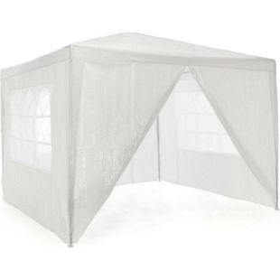 VCM Pavillon 3x3 m in weiß PE Plane 4 Seitenteile Partyzelt Gartenzelt Sonnenschutz - Bild 1
