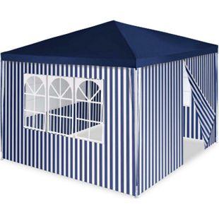 VCM Pavillon Partyzelt 3x3m blau weiß wasserdicht 4 Seitenteile Gartenzelt Eventzelt - Bild 1