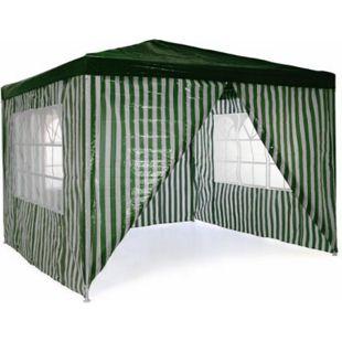 VCM Pavillon Partyzelt 3x3m grün weiß wasserdicht 4 Seitenteile Gartenzelt Eventzelt - Bild 1