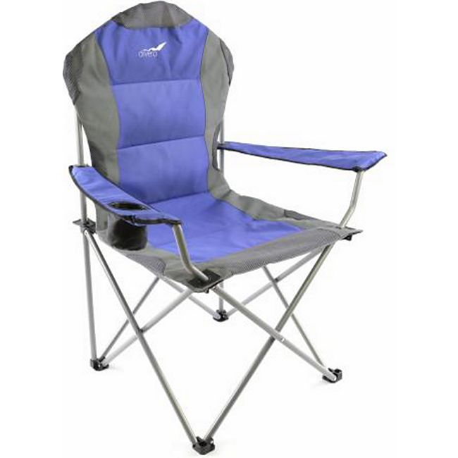 VCM Deluxe Campingstuhl blau grau Faltstuhl Angelstuhl gepolstert - Bild 1