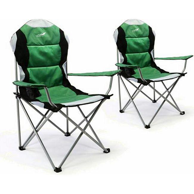 VCM 2er Set Deluxe Campingstuhl grün schwarz Faltstuhl Angelstuhl gepolstert - Bild 1