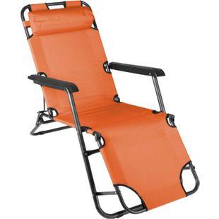 VCM klappbare Sonnenliege Relaxliege Liegestuhl orange Klappliege Stahl - Bild 1