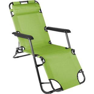 VCM klappbare Sonnenliege Relaxliege Liegestuhl hellgrün Klappliege Stahl - Bild 1