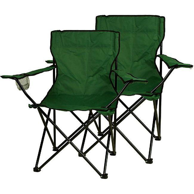 VCM Faltstuhl 2er Set Campingstuhl mit Armlehne und Getränkehalter grün - Bild 1
