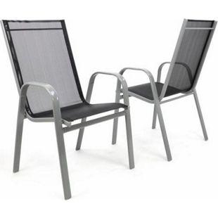 VCM 2er Set Gartenstuhl Stapelstuhl Hochlehner - Rahmen grau - Textilene schwarz - Bild 1