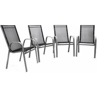 VCM 4er Set Gartenstuhl Stapelstuhl Hochlehner - Rahmen grau - Textilene schwarz - Bild 1