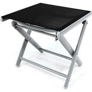 VCM klappbarer Alu Hocker Sitzhocker Rahmen hellgrau Textilene schwarz Klapphocker - Bild 1