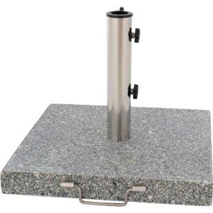 VCM Sonnenschirmständer 30kg Granit poliert grau eckig Edelstahl 45 x45 cm Griff - Bild 1