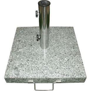 VCM Sonnenschirmständer 25 kg Granit eckig grau 40 x40cm Edelstahlgriff Rollen - Bild 1