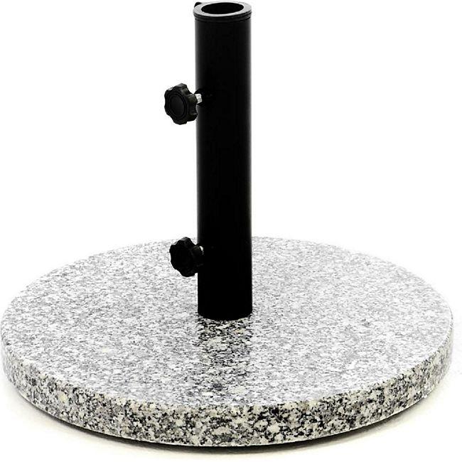 VCM Sonnenschirmständer 10kg Granit poliert grau rund Stahlrohr Schirmständer Ø 40cm - Bild 1