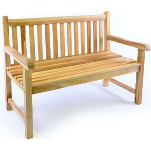 VCM 2-Sitzer Gartenbank Parkbank hochwertig massiv Teak Holz natur 120 cm - Bild 1