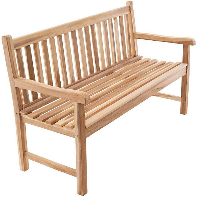 VCM 3-Sitzer Gartenbank Parkbank hochwertig massiv Teak Holz natur 150 cm - Bild 1