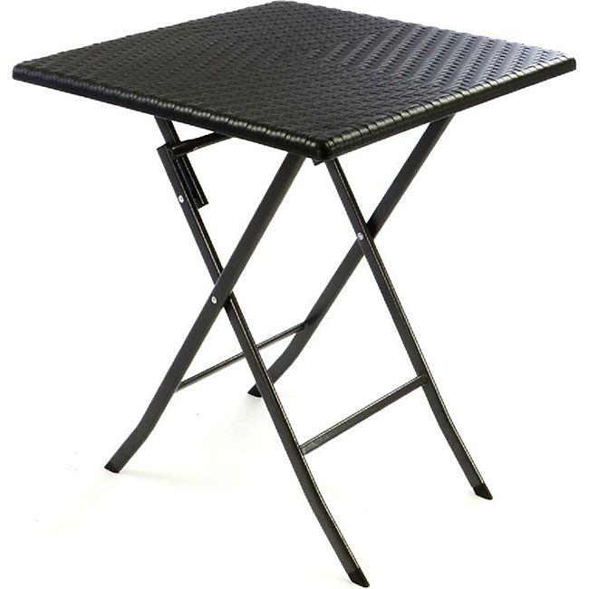 VCM Tisch in Rattan-Optik Balkontisch Gartentisch 75 x 61 x 61 cm klappbar schwarz - Bild 1