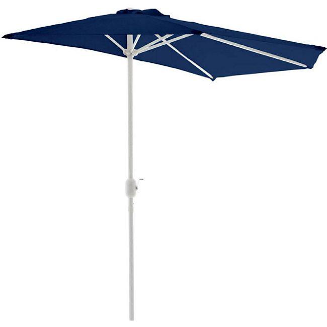 VCM Balkon-Sonnenschirm blau halbrund Gartenschirm Sonnenschutz 2,7m mit Kurbel - Bild 1