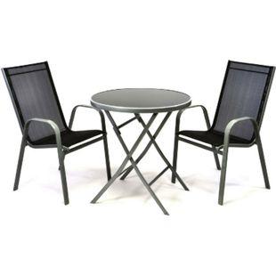 VCM 3er Set Garnitur 2 Stapelstühle + 1 Klapptisch Sitzgruppe Glastisch schwarz - Bild 1