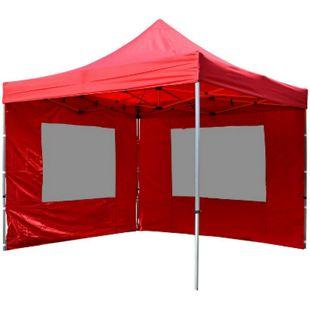 VCM PROFI Faltpavillon Partyzelt 3x3 m rot mit 2 Seitenteilen wasserdichtes Dach - Bild 1