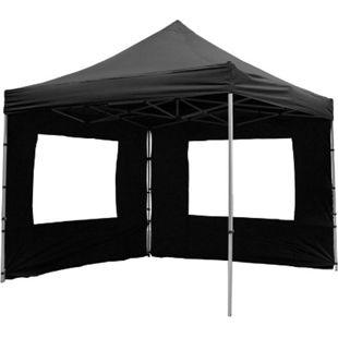 VCM PROFI Faltpavillon Partyzelt 3x3 m schwarz mit 2 Seitenteilen wasserdichtes Dach - Bild 1
