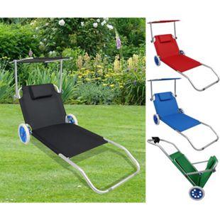 VCM Sonnenliege Gartenliege Relaxliege Liege Liegestuhl Sonnendach Rollen - Bild 1