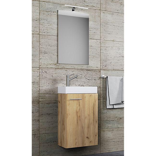 Vcm Waschplatz Waschbecken Schrank Spiegel Oder Spiegelschrank Wc Gaste Toilette Badmobel Klein Schmal Garla Online Kaufen Bei Netto
