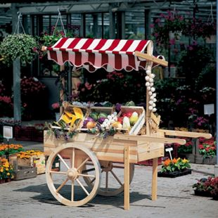 Promadino Marktwagen mit Baldachin weiß/rot - Bild 1