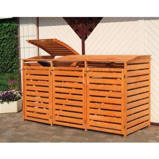 """Promadino Mülltonnenbox """"Vario III"""" für 3 Tonnen, honigbraun - Bild 1"""