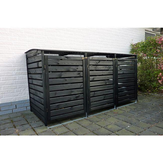 """Promadino Mülltonnenbox """"Vario III"""" für 3 Tonnen, anthrazit - Bild 1"""