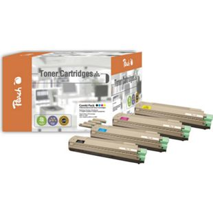 Peach Spar Pack Tonermodule kompatibel zu OKI 43487712,43487711,43487710,43487709 (wiederaufbereitet) - Bild 1