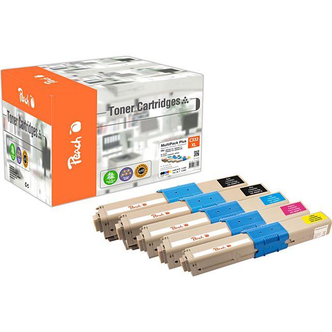 Peach Spar Pack Plus Tonermodule kompatibel zu OKI 46508712*2, 46508711, 46508710, 46508709 (wiederaufbereitet) - Bild 1