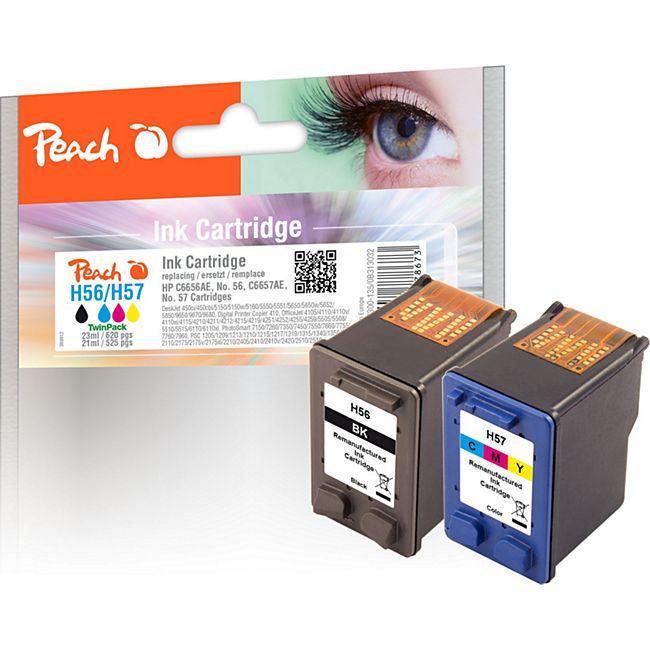 Peach Spar Pack Druckköpfe Tintenpatronen bk/c kompatibel zu HP No. 56, C6656AE, No. 57, C6657AE (wiederaufbereitet) - Bild 1