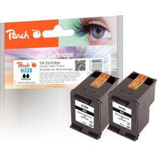 Peach Doppelpack Druckköpfe schwarz kompatibel zu HP No. 338, C8765E (wiederaufbereitet) - Bild 1