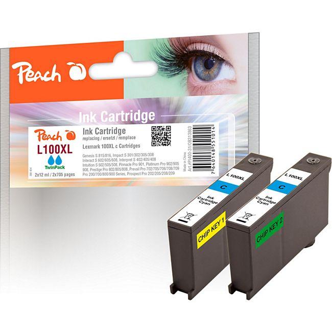 Peach Doppelpack 2 Tintenpatronen cyan kompatibel zu Lexmark No. 100XL, 14N1093 (wiederaufbereitet) - Bild 1