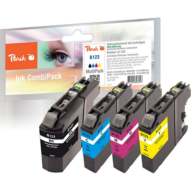 Peach Spar Pack Tintenpatronen kompatibel zu Brother LC-123 (wiederaufbereitet) - Bild 1