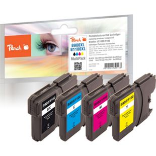 Peach Spar Pack Tintenpatronen kompatibel zu Brother LC-1100, LC-980 (wiederaufbereitet) - Bild 1