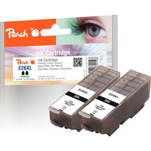 Peach Doppelpack Tintenpatronen schwarz kompatibel zu Epson No. 26XL bk, T262140 - Bild 1