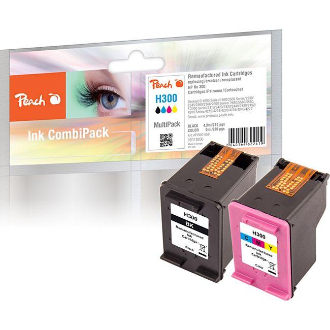 Peach Spar Pack Druckköpfe kompatibel zu HP No. 300, CC640EE, No. 300 color, CC643EE (wiederaufbereitet) - Bild 1