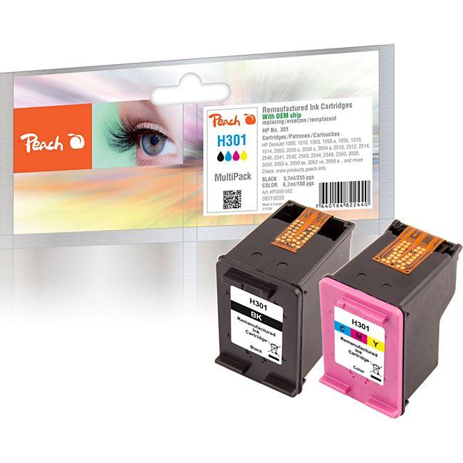 Peach Spar Pack Druckköpfe kompatibel zu HP No. 301 black, CH561EE,  No. 301 color, CH562EE (wiederaufbereitet) - Bild 1