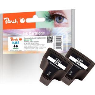 Peach Doppelpack Tintenpatrone schwarz kompatibel zu HP No. 363, C8721EE (wiederaufbereitet) - Bild 1