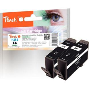 Peach Doppelpack Tintenpatrone schwarz kompatibel zu HP No. 364, CB316EE (wiederaufbereitet) - Bild 1
