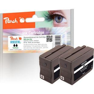 Peach Doppelpack Tintenpatrone schwarz HC kompatibel zu HP No. 932XL, CN053AE (wiederaufbereitet) - Bild 1